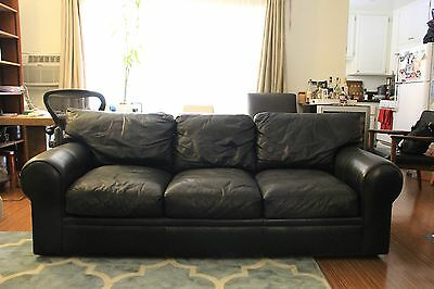BEAUTIFUL BLACK LEATHER Sofa by Maurice Villency Made in USA ...