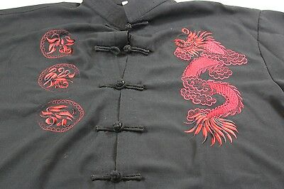 Embroidered Dragon Knot Tie Jacket Shirt Small S