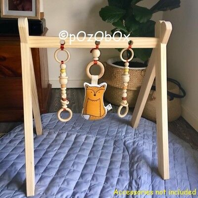 Baby Activity Gym Play Hanging Toys Wooden Fun Mobile Nursery Wood Stand Rack