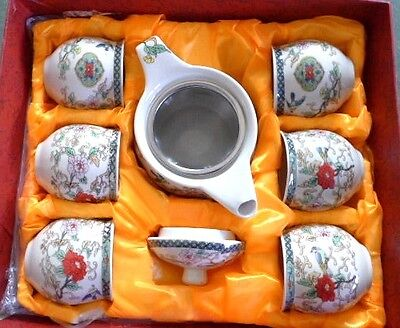 Beautiful Chinese Teaset Teapot Strainer 6 Double Skinned Tea Cups Birds Flowers