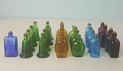Lot of 25 Colorful Mini Medicine Glass Bottles Liberty Bell Franklin Fischs