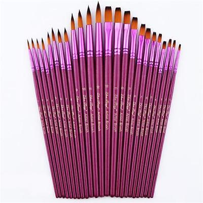 12pcs Artist Paint Brushes Pointed Brush Set Watercolor Painting Acrylic Oil - S