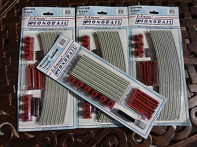 4 PACKS E-R  MODELS MONORAIL TRACK HO SCALE 3 CURVED PACKS and  1 STRAIGHT PACK