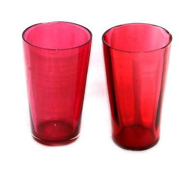 Vintage two cranberry glass small beakers
