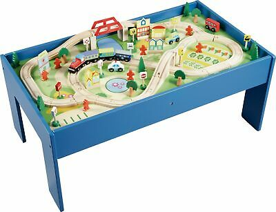 Chad Valley Wooden Table and 90 Piece Train Set - 3+ Years