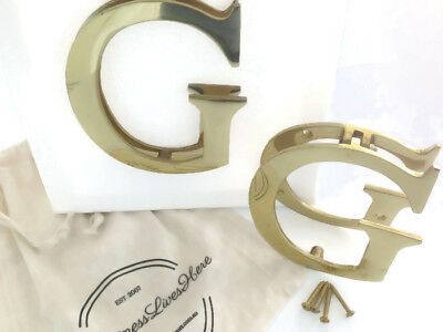 Solid Polished Brass DOOR KNOCKER Letter G  with Screws | Hamptons Coastal Style