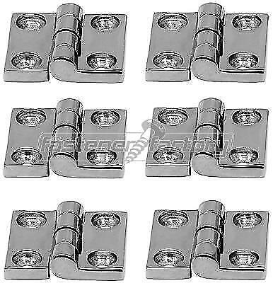 6pc Polished Stainless Steel Butt Door Hinges 38mm Marine Grade 316 Caravan Boat