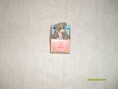 vintage russ berrie miniature fuzzy bear in cardboard car friends are forever