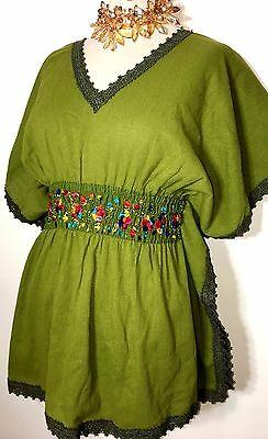 Hand Embroidered Huipil Mexico Boho Frida Blouse Butterfly style Green Peasant