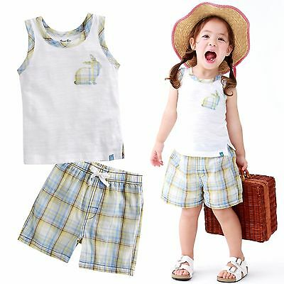 "Vaenait Baby Kid Check Girls Clothes Sleeveles Outfit set ""Rabbit White"" 12M-7T"