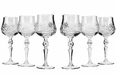 8 Oz Crystal Cut Wine Glasses on a Long Stem, Classic Wine Goblets, 6-Piece Set