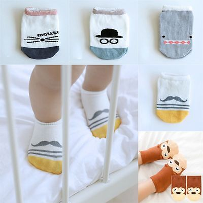 Cartoon Infant Toddler Sock Baby Non-Slip Stocking Cotton Shark Mouse Pattern