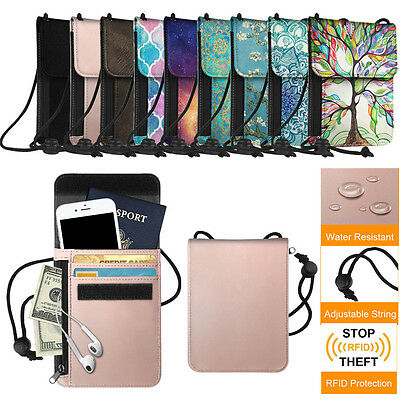 RFID Blocking Passport Holder Neck Pouch PU Leather Travel Wallet w/ Card Slots