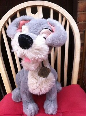 """Disney's Lady and the Tramp VINTAGE TRAMP DOG 14"""" Soft Plush Toy Metal Tag"""
