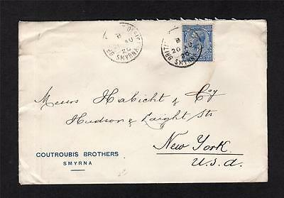 GEORGE V 21/2d USED ABROAD IN SMYRNA ON COVER