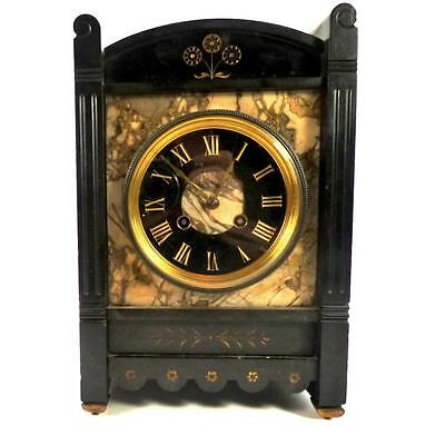 Antique French Black Slate & Marble Clock 8 Day Brass Striking Movement