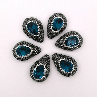 HB045 5PCS 19x28mm Teardrop Blue Crystal Beads Trimmed With Crystal Zircon