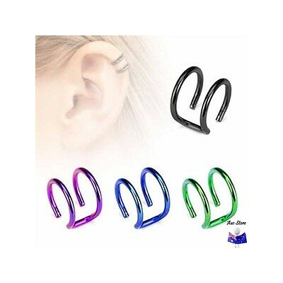 1XNew Titanium IP Non-Piercing Double Ring AUS STORE Helix, lip, Cheater, Faker