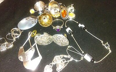 silver lot matching and single earrings,ring,bracelet and nice scrap