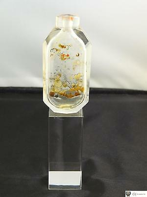 Antique Chinese Interior Painted Clear Glass Snuff Bottle, C. Late 19th Century