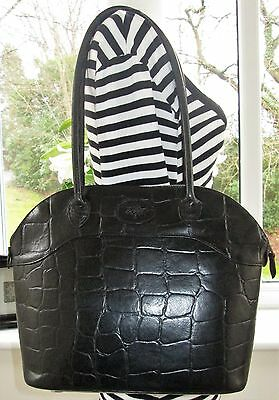 Authentic Mulberry Black Congo Leather Shoulder Tote Hand Bag
