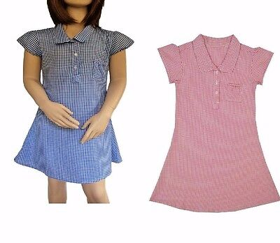 Ex Bhs Girls School Summer Dress Red Gingham Or Blue 3 To 12 Years!