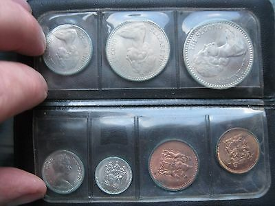 Rhodesia 1964 1970-s UNC 7 coin set 1/2 to 25 Cents in black folder wallet