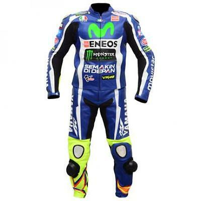 Valentino Rossi Yamaha Motorbike Racing Leather Suit with CE approved protection