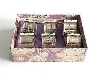 Vintage Silver Plated Napkin Round Rings Holders Ringed Detail- Boxed Set Of 6