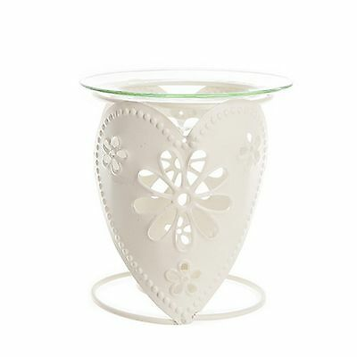 Cream Metal Oil Burner ~  Heart Design Fragrance Oil Burner