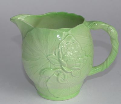 Large c1939 Carlton Ware Green WATER LILY Jug - 600ml