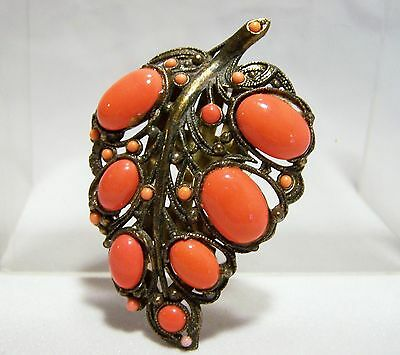 Art Deco New England Glass Works Leaf Dress Clip Faux Coral Pin Gold Tone 516hE