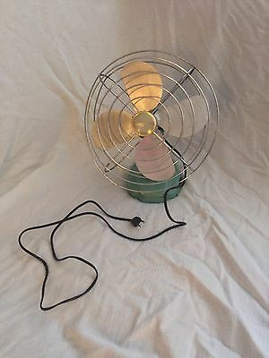 Vintage Metal Eskimo Oscillating Desk or Tabletop Fan Aqua Green Working Cool