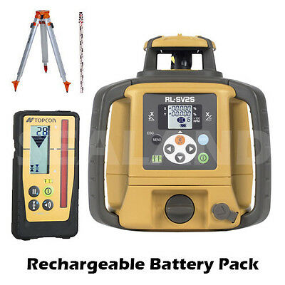 Topcon RL-SV2S Dual Grade Rotating Laser Kit with LS-100D Receiver & Rec Batt