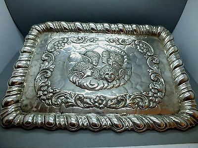 Late 19th C Art Nouveau Silver Plated Visiting Card Tray 'Reynolds Angels' c1895
