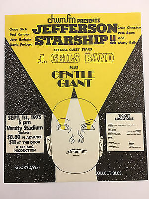 1975 Jefferson Starship J Geils Band Varsity Stadium Toronto Concert Poster Bill