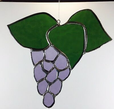 Handcrafted Stained Glass Grape Suncatcher