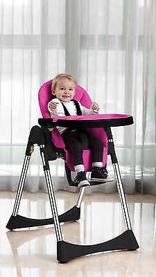 Vlu Baby Child Highchair Feeding Chair Soft Comfortable Leather Fully Adjusta...