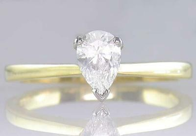Diamond Solitaire Engagement Ring 0.55ct Certified E VS2 VG Pear Shape 18ct Gold