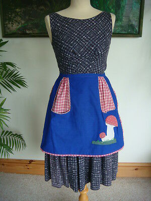 Original Vintage 1960's Applique Mushroom Fully Lined Print Half Pinny / Apron