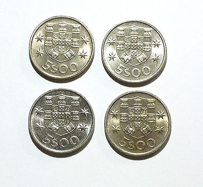Portugal 5 Escudos Coins from 1983, 1984, 1985, 1986