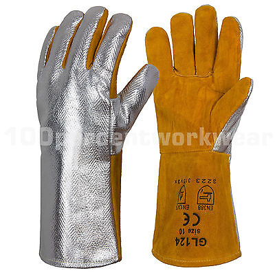 RHINOweld Heavy Duty Aluminised Welders Leather Welding Gauntlet Work Gloves New