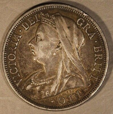 1900 Great Britain Silver 1/2 Crown Victoria Circulated ** FREE U.S. SHIPPING **