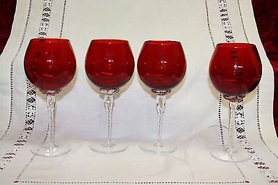 4 Lovely Ruby Red Crystal Wine Glasses 19.5 cms tall