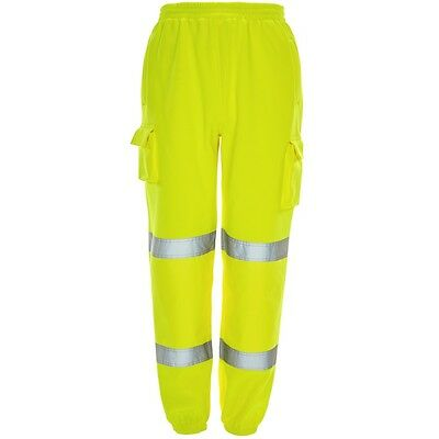 Supertouch Yellow High Visibility Mens Work Jogger Jogging Trousers Pants Cuffs