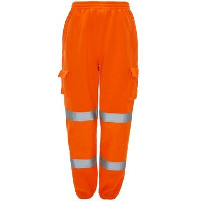 Supertouch Orange High Vis Viz Work Jogger Jogging Trousers Pants Elastic Waist
