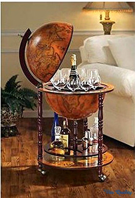 Bar Globe Old World Italian Wine Liquor Cabinet Storage Style Mini Stand New Map