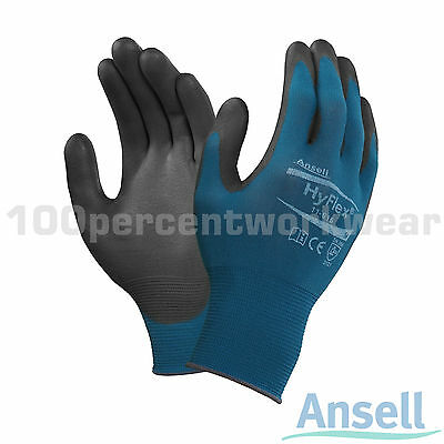 12x Pairs Ansell 11-616 HyFlex PU Coated Nylon Grip Work Safety Gloves Mechanics