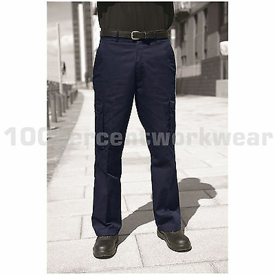 Warrior TR320 Mens Polycotton Cargo Work Trousers Pants Black or Navy Blue 28-52