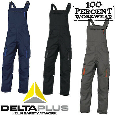 Heavy Duty Delta Plus Tradesman Bib and Brace Work Overalls Dungarees Trousers